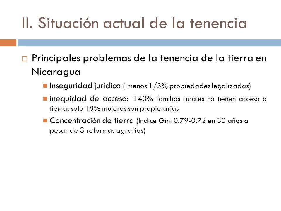 Evolución de los procesos de Reforma agraria en Nicaragua 1963-1979: Durante el régimen de los Somoza se otorgaron unas 4.9 millones de manzanas, en especial en las áreas en ese entonces circundantes a la frontera agrícola (Región Central); 1979-1990: Durante el régimen sandinista cerca del 25% de la tierra (2.3 millones manzanas) se redistribuyó a empresas estatales, cooperativas e individuos, en especial en las regiones Central y Pacífico; y A inicio de 1990: se repartieron unas 700,000 manzanas adicionales a excombatientes, específicamente en zonas cercanas a la frontera agrícola, así como tierras tomadas de reformas agrarias anteriores (Banco Mundial, 2003a).