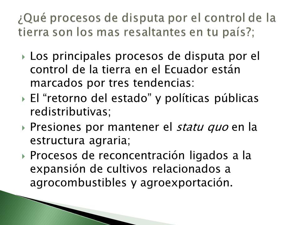 Los principales procesos de disputa por el control de la tierra en el Ecuador están marcados por tres tendencias: El retorno del estado y políticas públicas redistributivas; Presiones por mantener el statu quo en la estructura agraria; Procesos de reconcentración ligados a la expansión de cultivos relacionados a agrocombustibles y agroexportación.