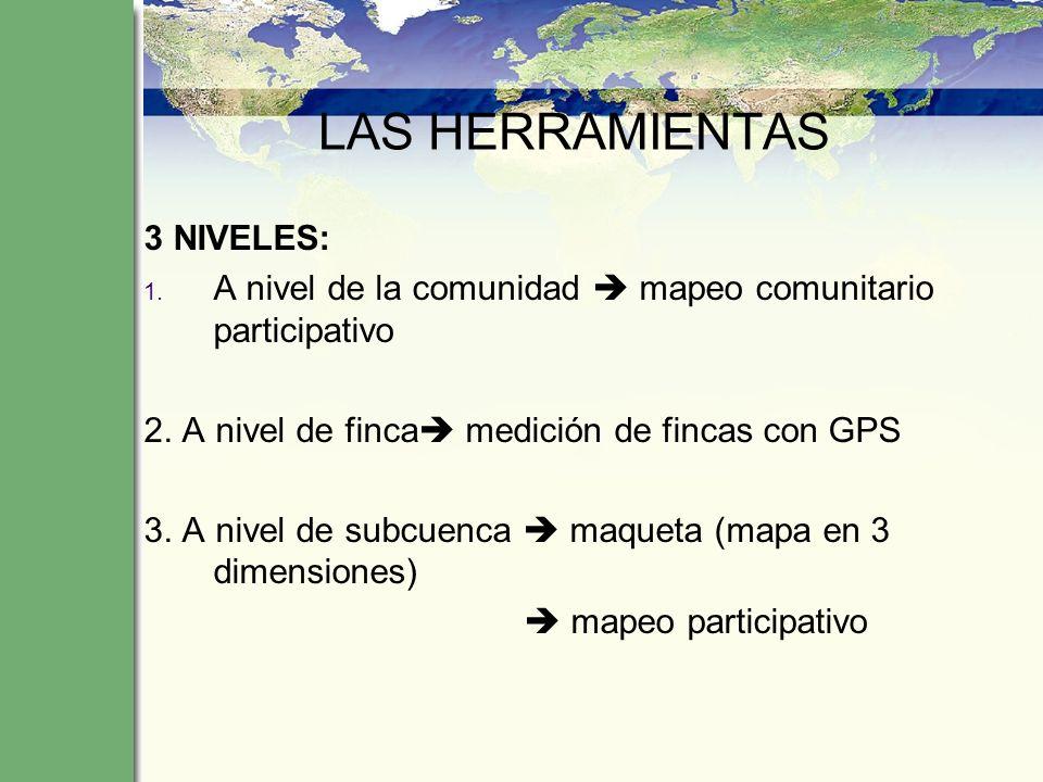 LAS HERRAMIENTAS 3 NIVELES: 1. A nivel de la comunidad mapeo comunitario participativo 2. A nivel de finca medición de fincas con GPS 3. A nivel de su