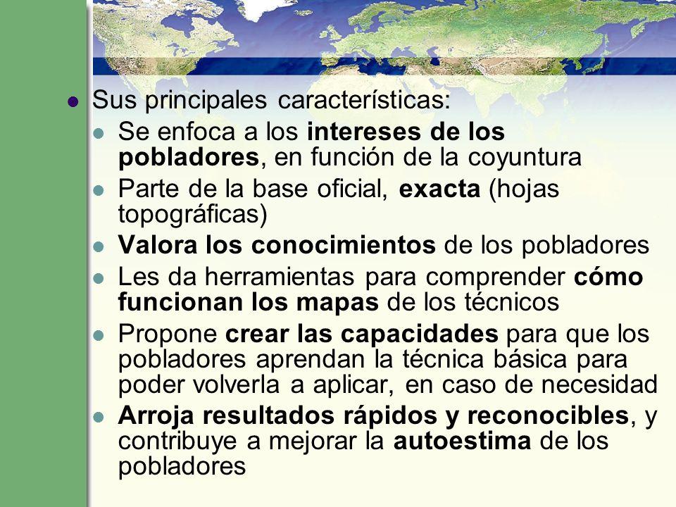 Sus principales características: Se enfoca a los intereses de los pobladores, en función de la coyuntura Parte de la base oficial, exacta (hojas topog