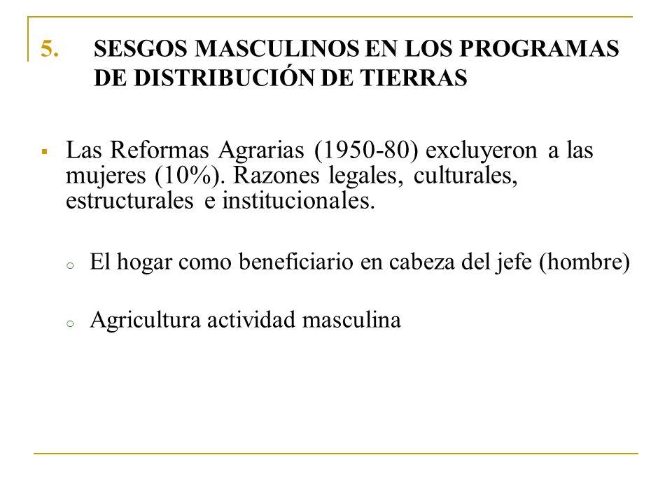 5.SESGOS MASCULINOS EN LOS PROGRAMAS DE DISTRIBUCIÓN DE TIERRAS Las Reformas Agrarias (1950-80) excluyeron a las mujeres (10%). Razones legales, cultu