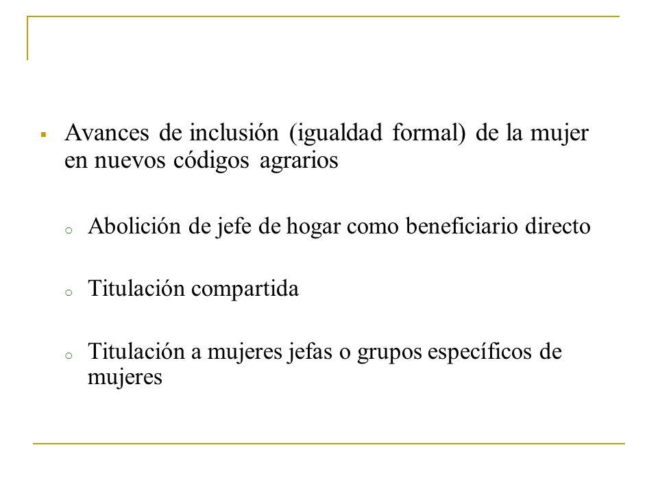 Avances de inclusión (igualdad formal) de la mujer en nuevos códigos agrarios o Abolición de jefe de hogar como beneficiario directo o Titulación comp