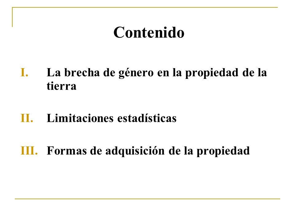 Contenido I.La brecha de género en la propiedad de la tierra II.Limitaciones estadísticas III.Formas de adquisición de la propiedad