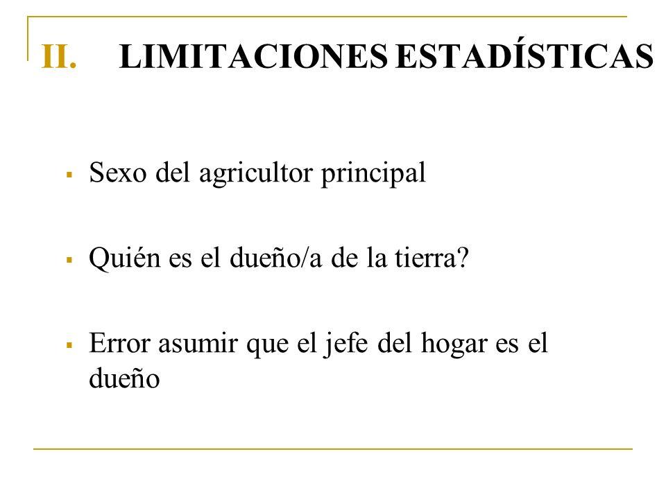 II.LIMITACIONES ESTADÍSTICAS Sexo del agricultor principal Quién es el dueño/a de la tierra? Error asumir que el jefe del hogar es el dueño
