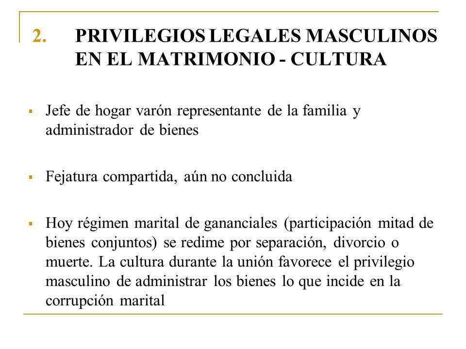 2.PRIVILEGIOS LEGALES MASCULINOS EN EL MATRIMONIO - CULTURA Jefe de hogar varón representante de la familia y administrador de bienes Fejatura compart