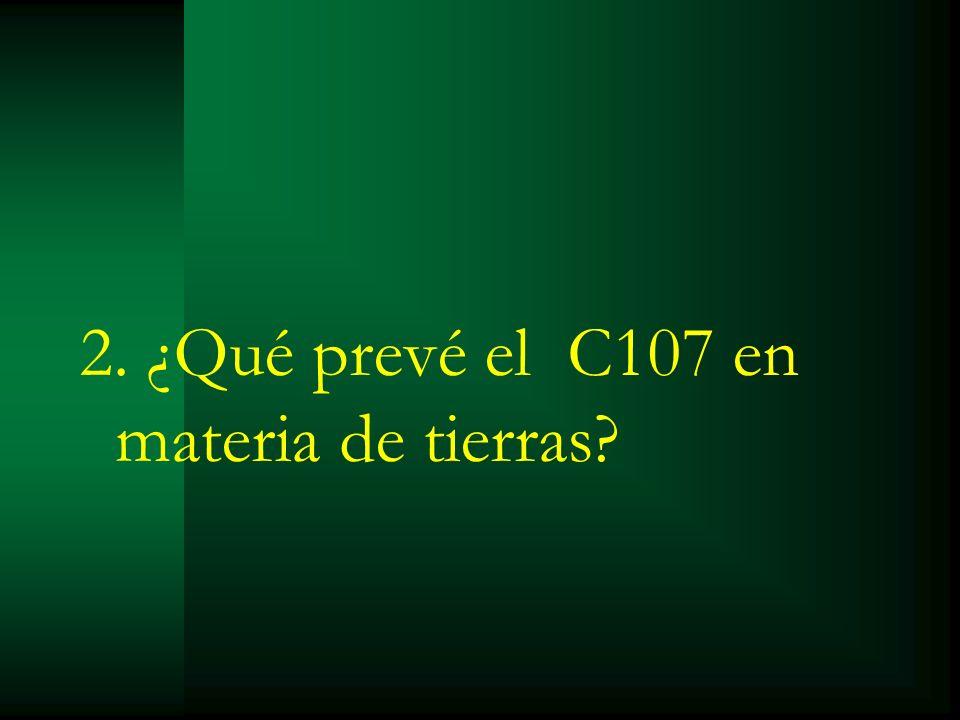 2. ¿Qué prevé el C107 en materia de tierras?