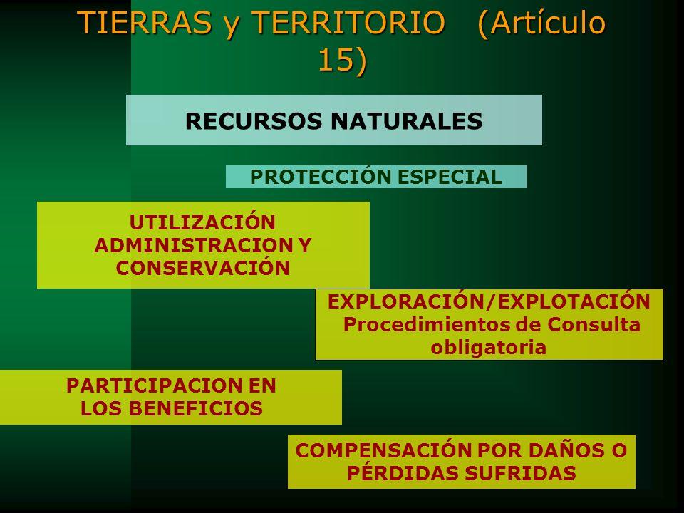 RECURSOS NATURALES UTILIZACIÓN ADMINISTRACION Y CONSERVACIÓN EXPLORACIÓN/EXPLOTACIÓN Procedimientos de Consulta obligatoria PROTECCIÓN ESPECIAL COMPEN