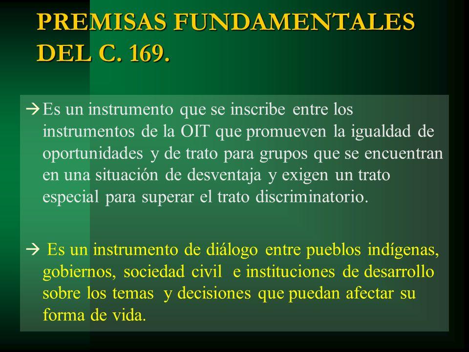PREMISAS FUNDAMENTALES DEL C. 169. Es un instrumento que se inscribe entre los instrumentos de la OIT que promueven la igualdad de oportunidades y de