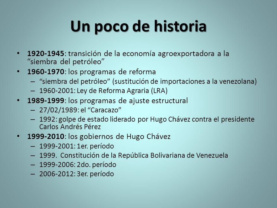 Un poco de historia 1920-1945: transición de la economía agroexportadora a la siembra del petróleo 1960-1970: los programas de reforma – siembra del p