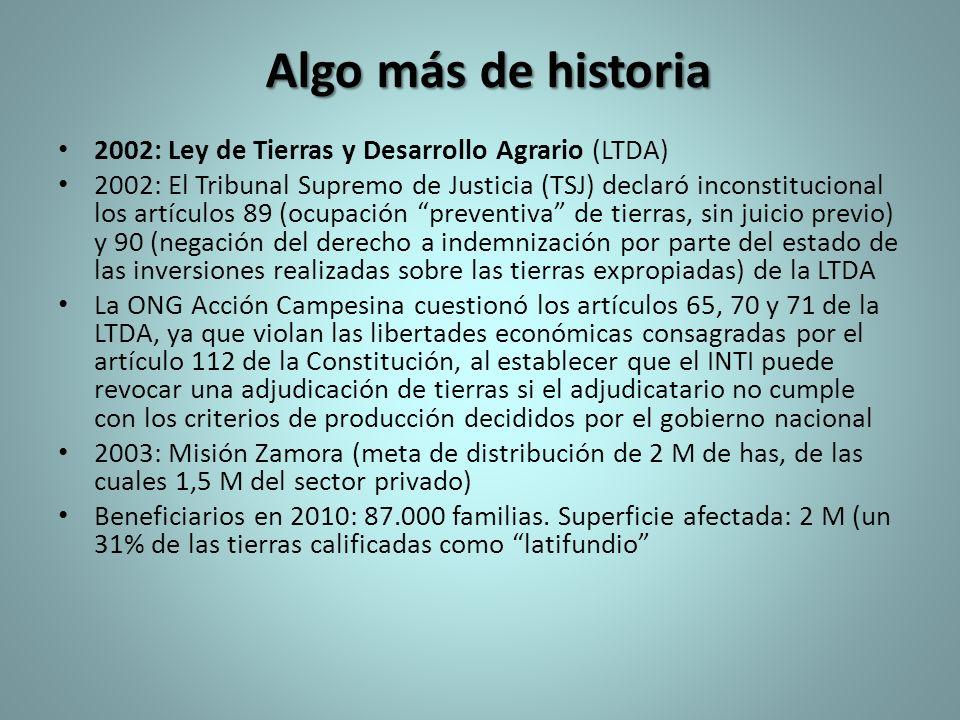 Algo más de historia 2002: Ley de Tierras y Desarrollo Agrario (LTDA) 2002: El Tribunal Supremo de Justicia (TSJ) declaró inconstitucional los artícul