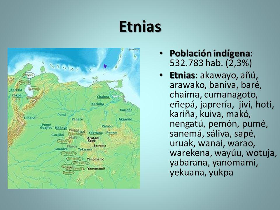Etnias Población indígena Población indígena: 532.783 hab. (2,3%) Etnias Etnias: akawayo, añú, arawako, baniva, baré, chaima, cumanagoto, eñepá, japre