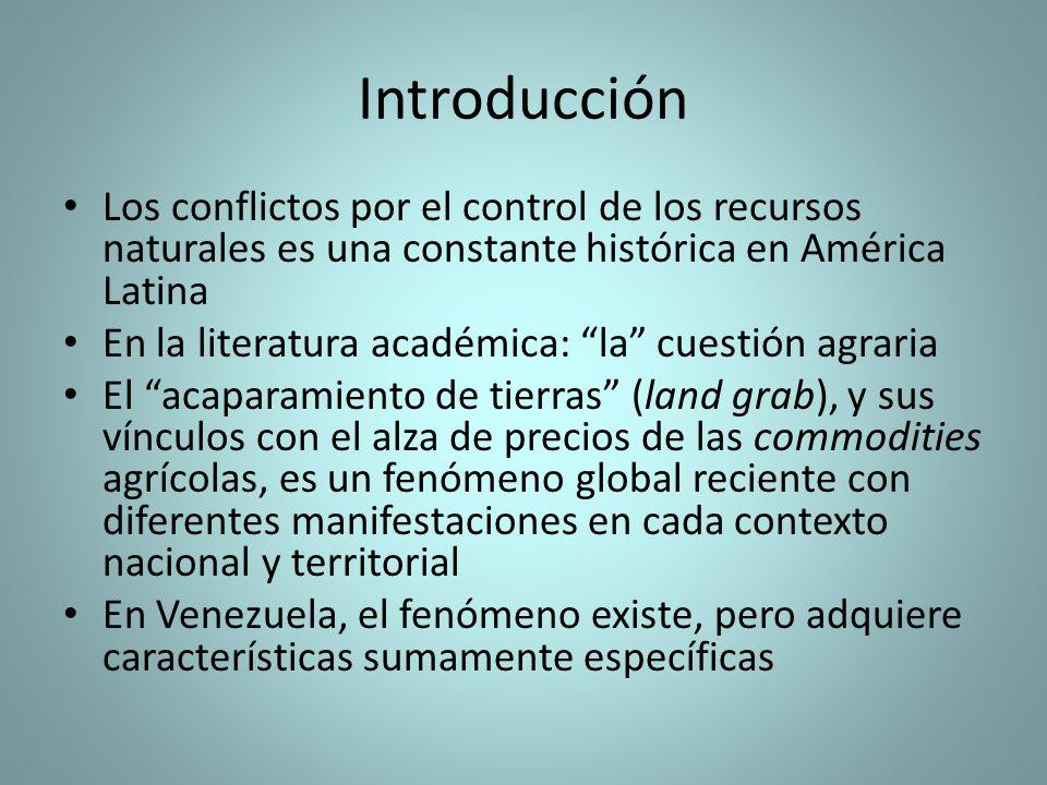 Introducción Los conflictos por el control de los recursos naturales es una constante histórica en América Latina En la literatura académica: la cuest