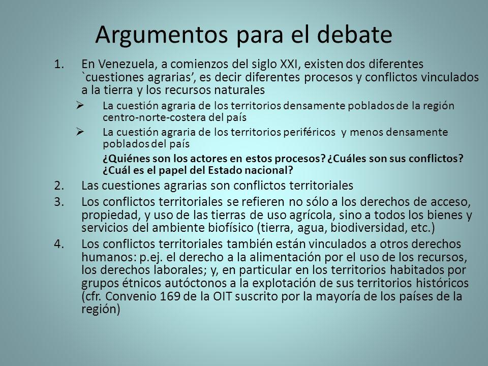 Argumentos para el debate 1.En Venezuela, a comienzos del siglo XXI, existen dos diferentes `cuestiones agrarias, es decir diferentes procesos y confl