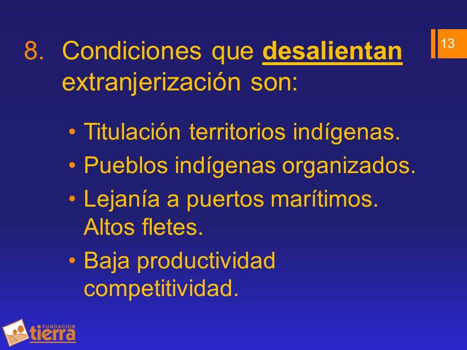 8.Condiciones que desalientan extranjerización son: Titulación territorios indígenas. Pueblos indígenas organizados. Lejanía a puertos marítimos. Alto