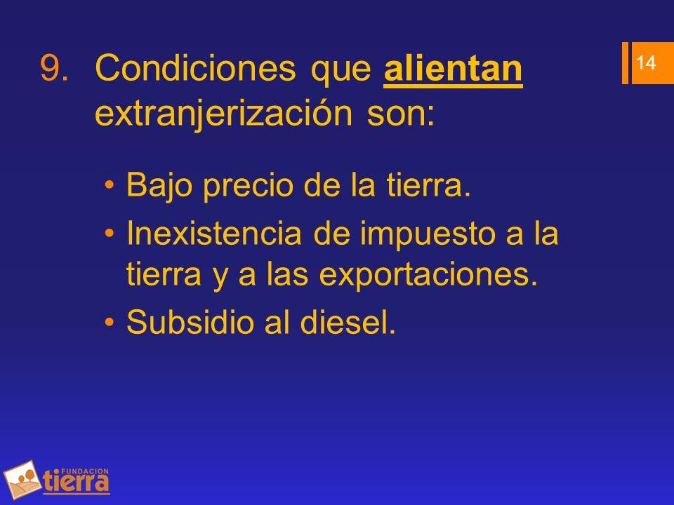 9.Condiciones que alientan extranjerización son: Bajo precio de la tierra. Inexistencia de impuesto a la tierra y a las exportaciones. Subsidio al die