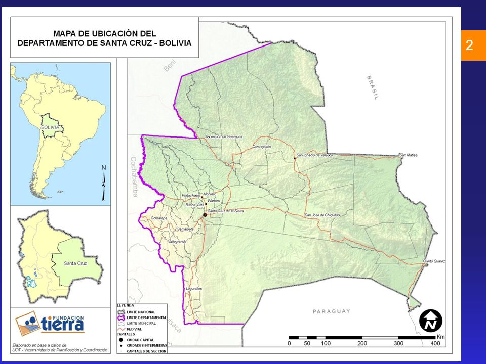 Superficie cultivada hectáreas: Bolivia: 2.7 millones Santa Cruz: 1.8 millones 3