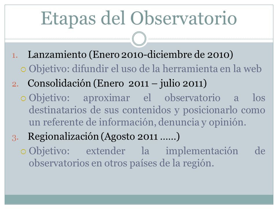 Etapas del Observatorio 1.