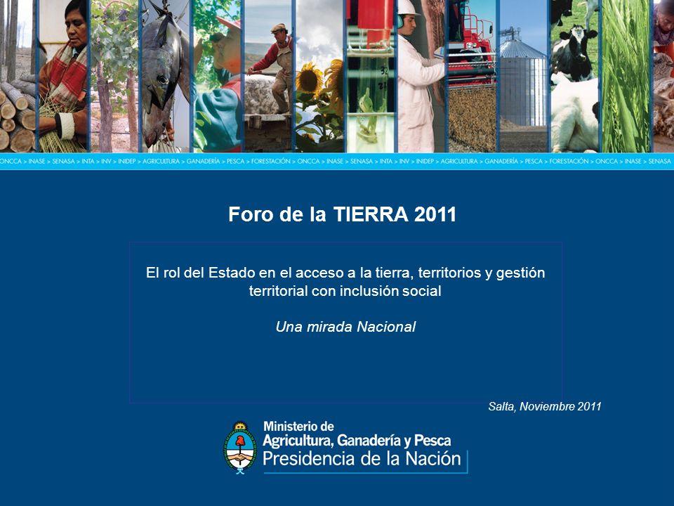 Foro de la TIERRA 2011 El rol del Estado en el acceso a la tierra, territorios y gestión territorial con inclusión social Una mirada Nacional Salta, Noviembre 2011