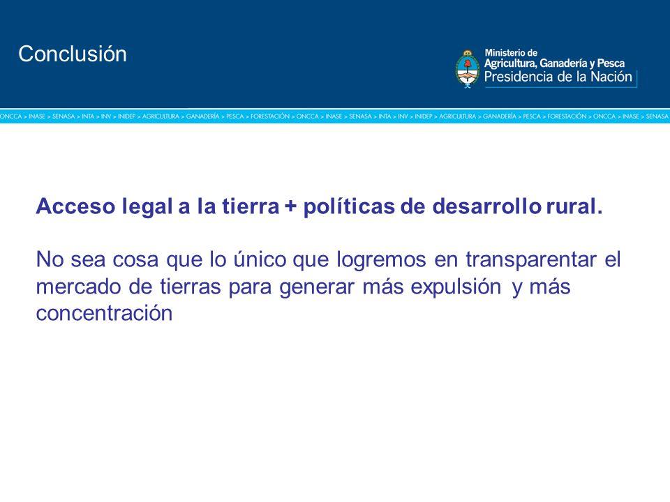 Título: Tipografía Arial / Versión: bold Cuerpo 16 a 18 / Color blanco Conclusión Acceso legal a la tierra + políticas de desarrollo rural. No sea cos