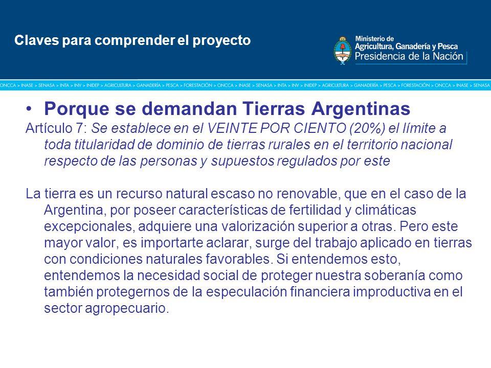 Título: Tipografía Arial / Versión: bold Cuerpo 16 a 18 / Color blanco Porque se demandan Tierras Argentinas Artículo 7: Se establece en el VEINTE POR