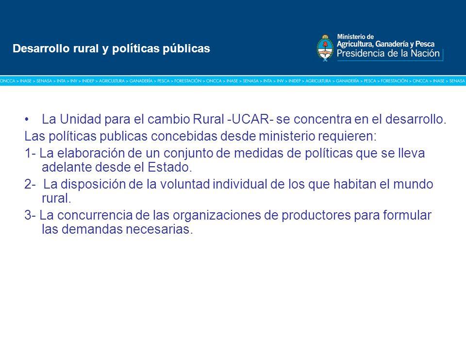 Título: Tipografía Arial / Versión: bold Cuerpo 16 a 18 / Color blanco La Unidad para el cambio Rural -UCAR- se concentra en el desarrollo.