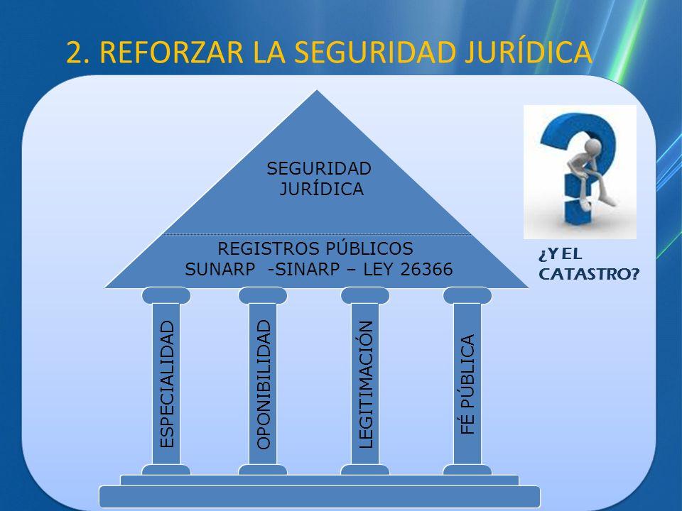 REGISTROS PÚBLICOS SUNARP -SINARP – LEY 26366 SEGURIDAD JURÍDICA ESPECIALIDAD OPONIBILIDAD LEGITIMACIÓN FÉ PÚBLICA 2. REFORZAR LA SEGURIDAD JURÍDICA ¿