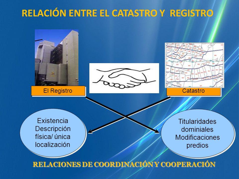 Catastro El Registro RELACIÓN ENTRE EL CATASTRO Y REGISTRO Existencia Descripción física/ única localización Existencia Descripción física/ única loca