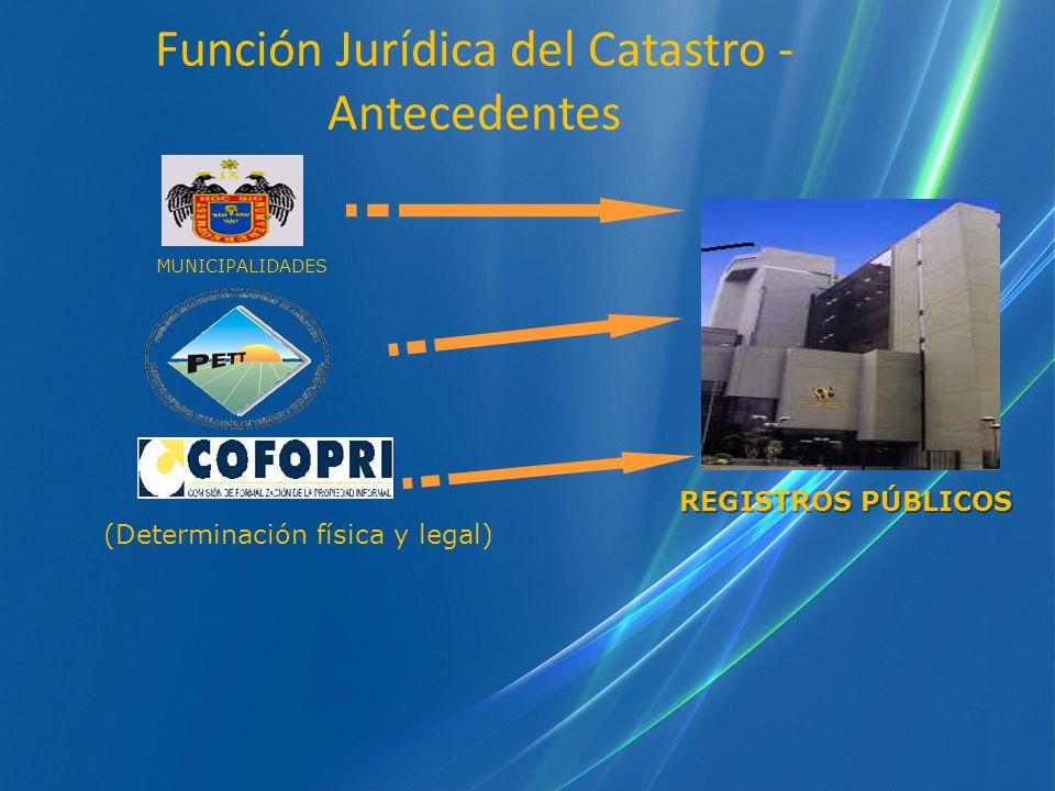 Función Jurídica del Catastro - Antecedentes MUNICIPALIDADES REGISTROS PÚBLICOS (Determinación física y legal)