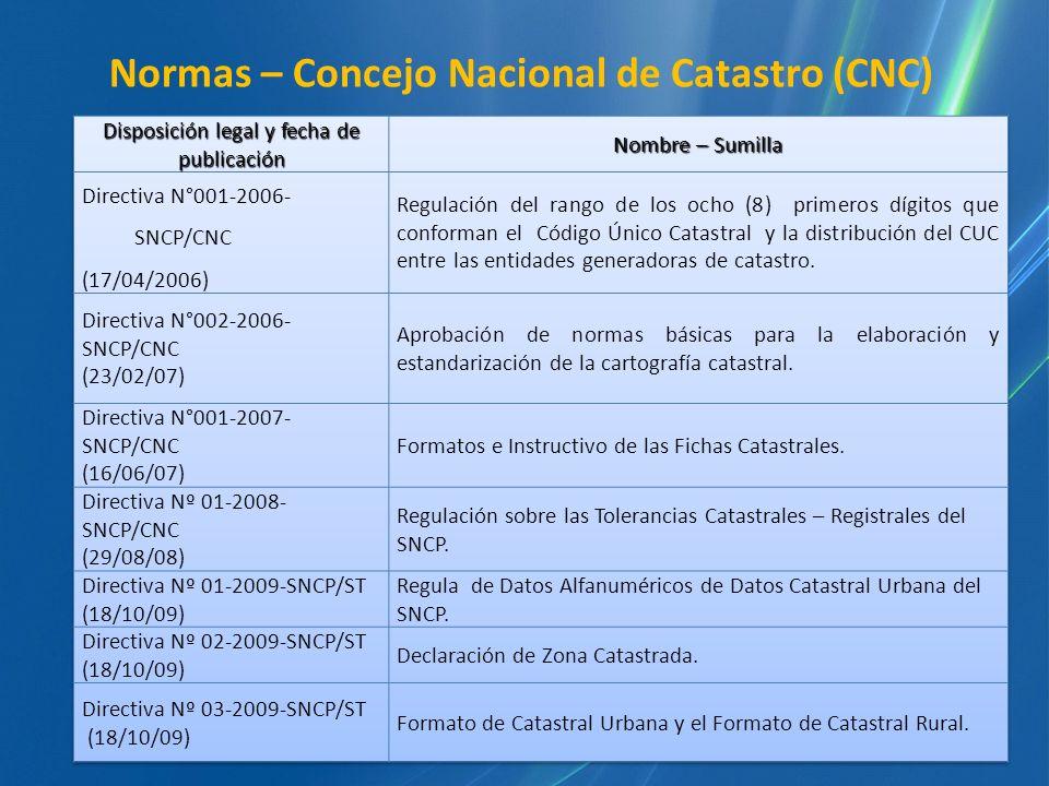 Normas – Concejo Nacional de Catastro (CNC)