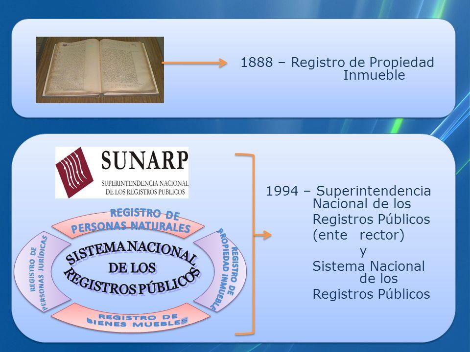 1888 – Registro de Propiedad Inmueble 1994 – Superintendencia Nacional de los Registros Públicos (ente rector) y Sistema Nacional de los Registros Púb