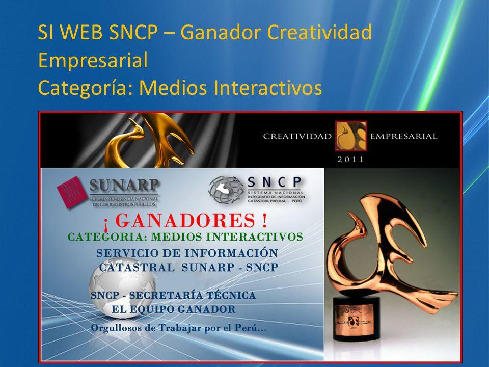 SI WEB SNCP – Ganador Creatividad Empresarial Categoría: Medios Interactivos