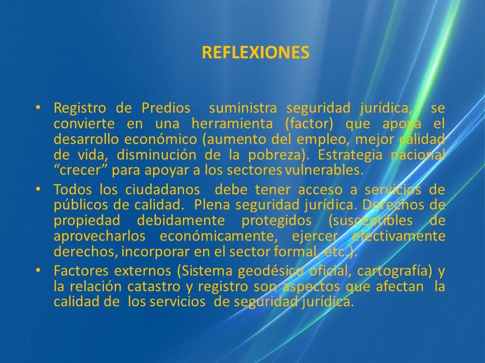REFLEXIONES Registro de Predios suministra seguridad jurídica, se convierte en una herramienta (factor) que apoya el desarrollo económico (aumento del