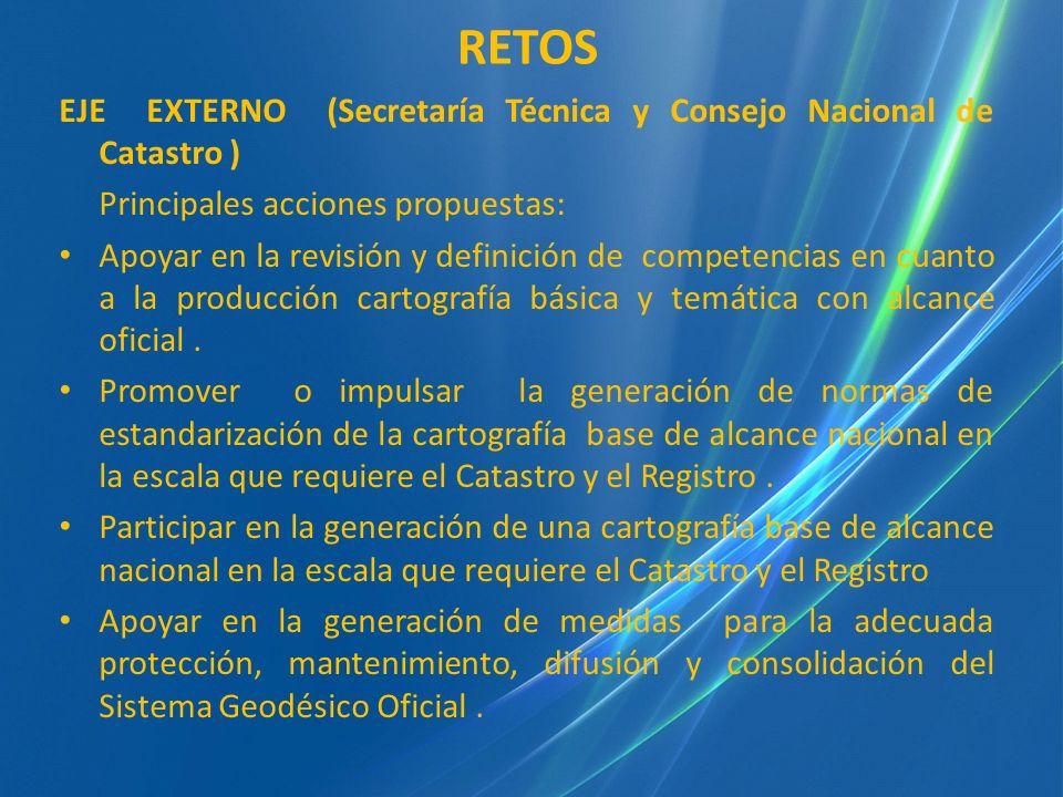 EJE EXTERNO (Secretaría Técnica y Consejo Nacional de Catastro ) Principales acciones propuestas: Apoyar en la revisión y definición de competencias e