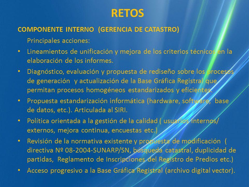 COMPONENTE INTERNO (GERENCIA DE CATASTRO) Principales acciones: Lineamientos de unificación y mejora de los criterios técnicos en la elaboración de lo