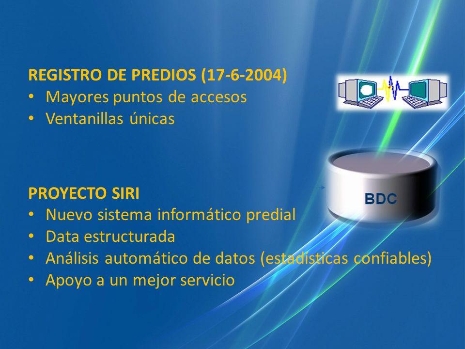REGISTRO DE PREDIOS (17-6-2004) Mayores puntos de accesos Ventanillas únicas PROYECTO SIRI Nuevo sistema informático predial Data estructurada Análisi