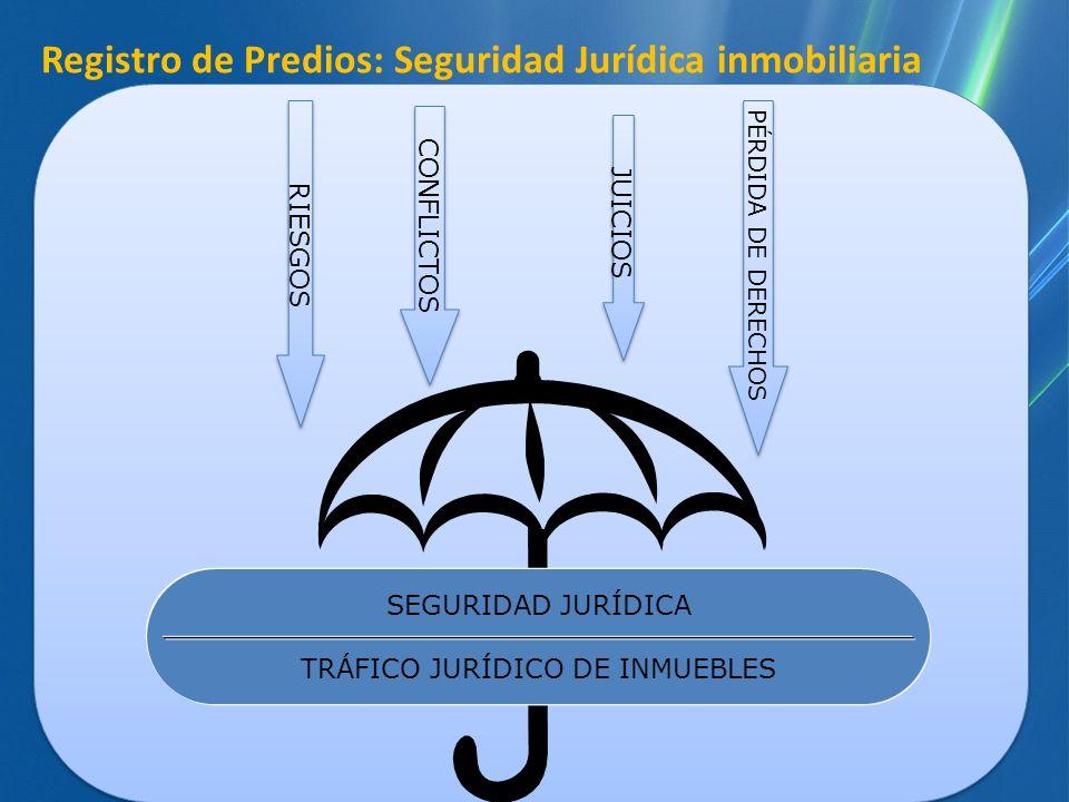 Registro de Predios: Seguridad Jurídica inmobiliaria SEGURIDAD JURÍDICA TRÁFICO JURÍDICO DE INMUEBLES RIESGOS JUICIOS CONFLICTOS PÉRDIDA DE DERECHOS