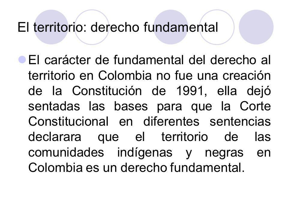 El derecho al territorio de las comunidades étnicas en Colombia se considera un derecho fundamental que se deriva de los principios de protección de la diversidad étnica y cultural que consagra el Estado Social de Derecho.