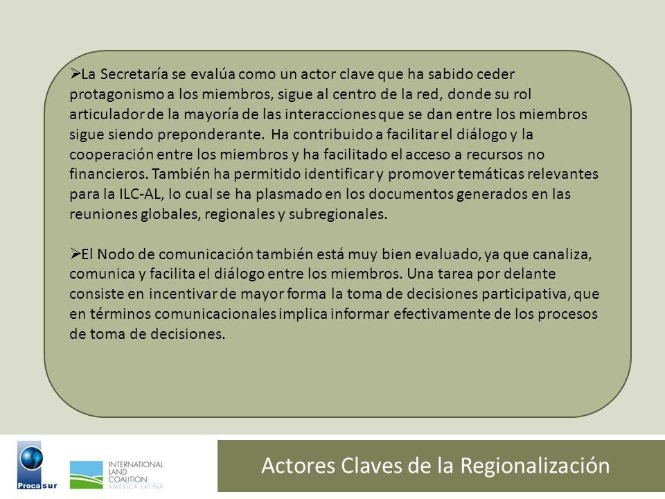 Actores Claves de la Regionalización La Secretaría se evalúa como un actor clave que ha sabido ceder protagonismo a los miembros, sigue al centro de l