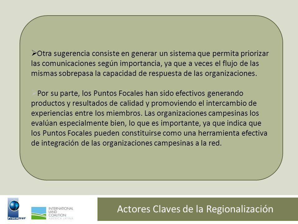 Actores Claves de la Regionalización Otra sugerencia consiste en generar un sistema que permita priorizar las comunicaciones según importancia, ya que