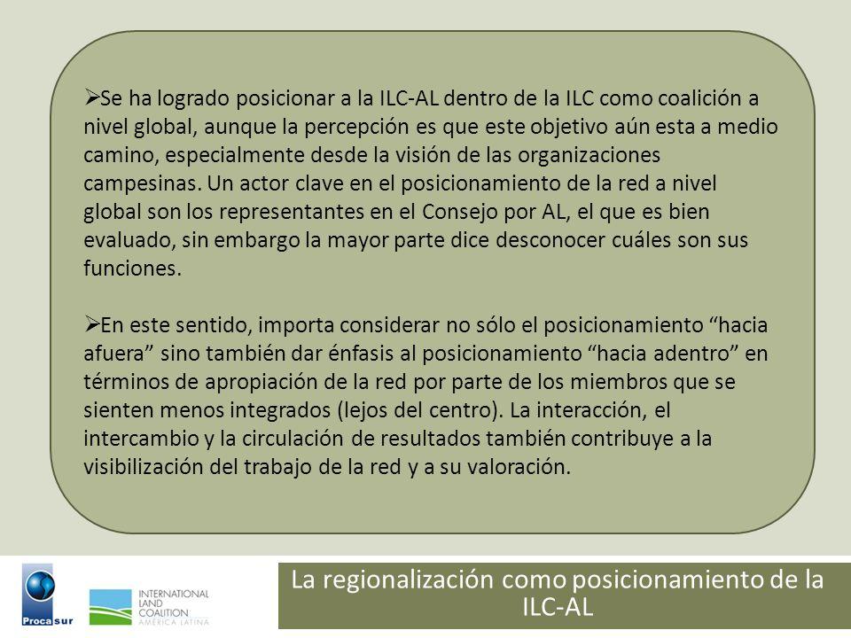 La regionalización como posicionamiento de la ILC-AL Se ha logrado posicionar a la ILC-AL dentro de la ILC como coalición a nivel global, aunque la pe