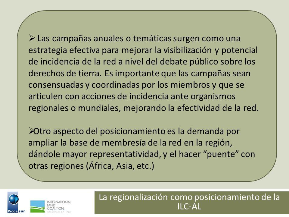 La regionalización como posicionamiento de la ILC-AL Las campañas anuales o temáticas surgen como una estrategia efectiva para mejorar la visibilizaci