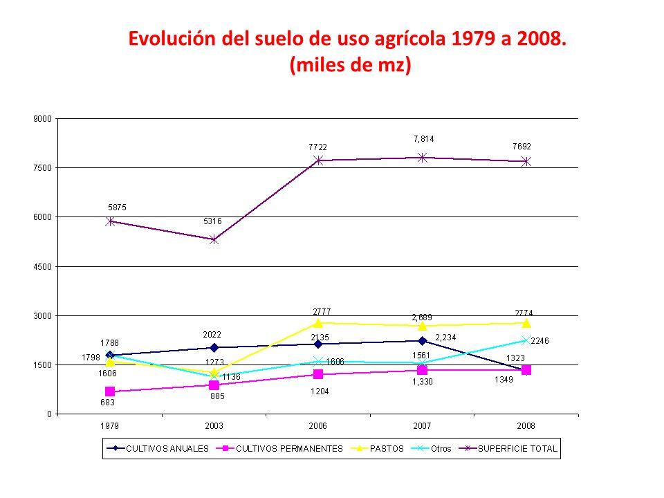 Evolución del suelo de uso agrícola 1979 a 2008. (miles de mz)