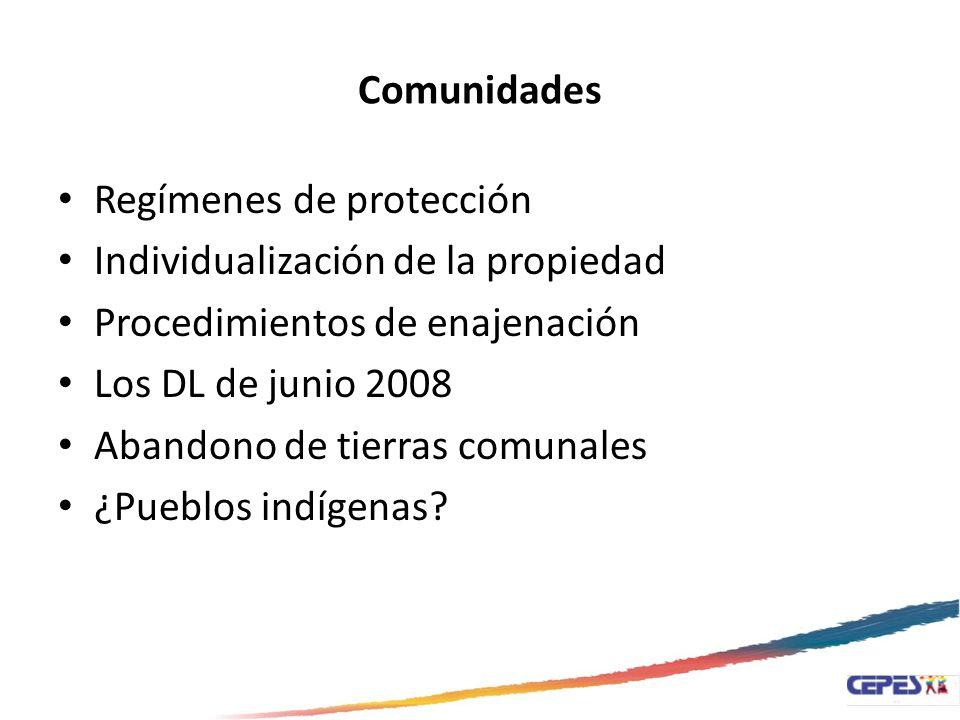 Comunidades Constitución 1920Constitución 1933Constitución 1979Constitución 1993 Los bienes de propiedad de las comunidades de indígenas son imprescriptibles.