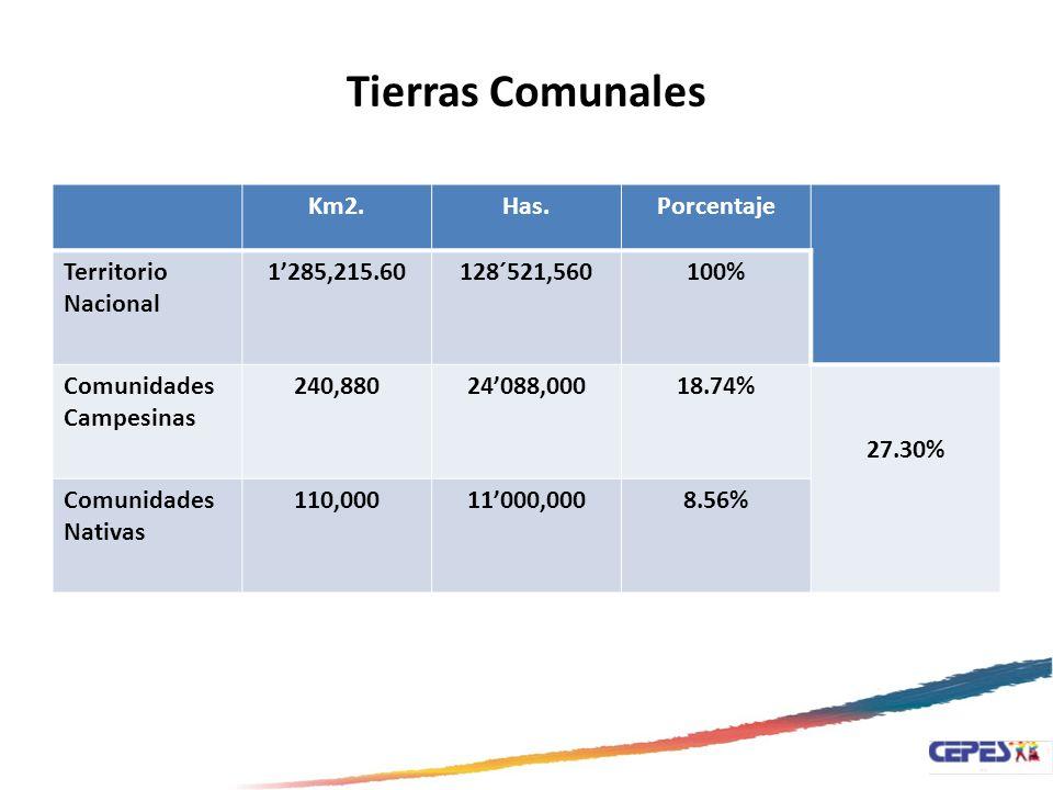 Tierras comunales ReconocidasTituladasPor TitularCon Base Gráfica Sin Base Gráfica Comunidades Campesinas 60695110 (84%)959 (16%)19703140 Comunidades Nativas 14691271 (87%)198 (13%)851186