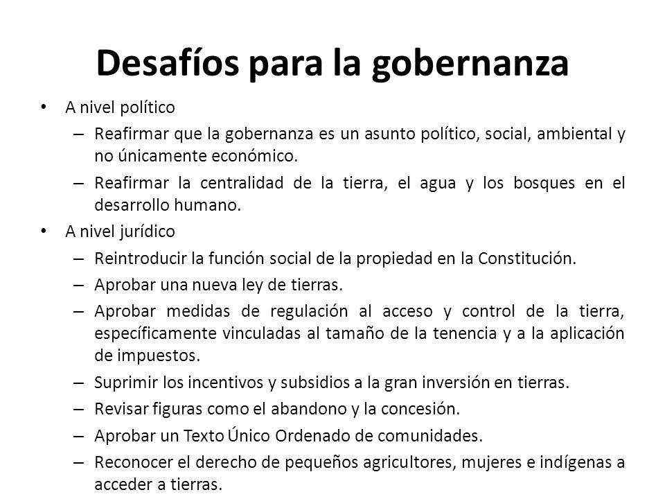 Desafíos para la gobernanza A nivel institucional – Adoptar la transparencia en la información como parte de la política rural.
