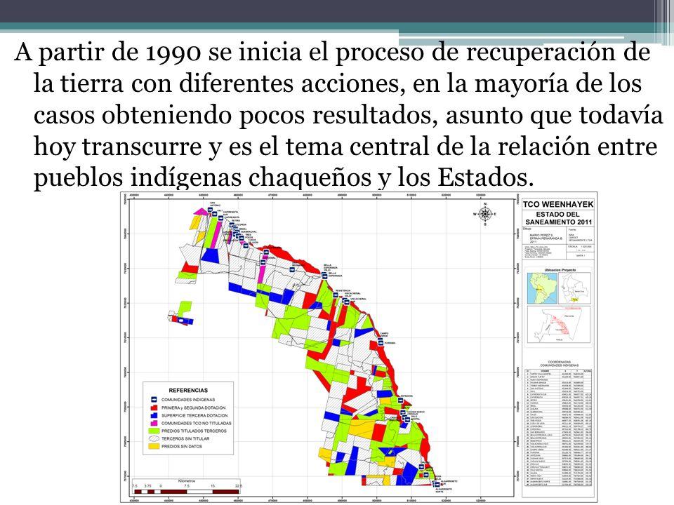 A partir de 1990 se inicia el proceso de recuperación de la tierra con diferentes acciones, en la mayoría de los casos obteniendo pocos resultados, as