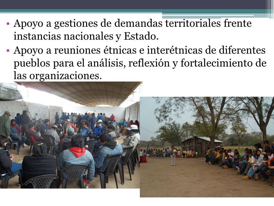 Apoyo a gestiones de demandas territoriales frente instancias nacionales y Estado. Apoyo a reuniones étnicas e interétnicas de diferentes pueblos para