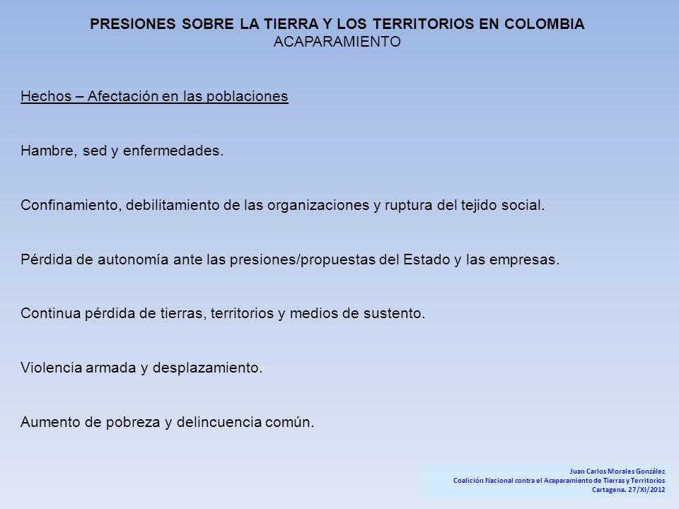 PRESIONES SOBRE LA TIERRA Y LOS TERRITORIOS EN COLOMBIA ACAPARAMIENTO Hechos – Afectación en las poblaciones Hambre, sed y enfermedades. Confinamiento