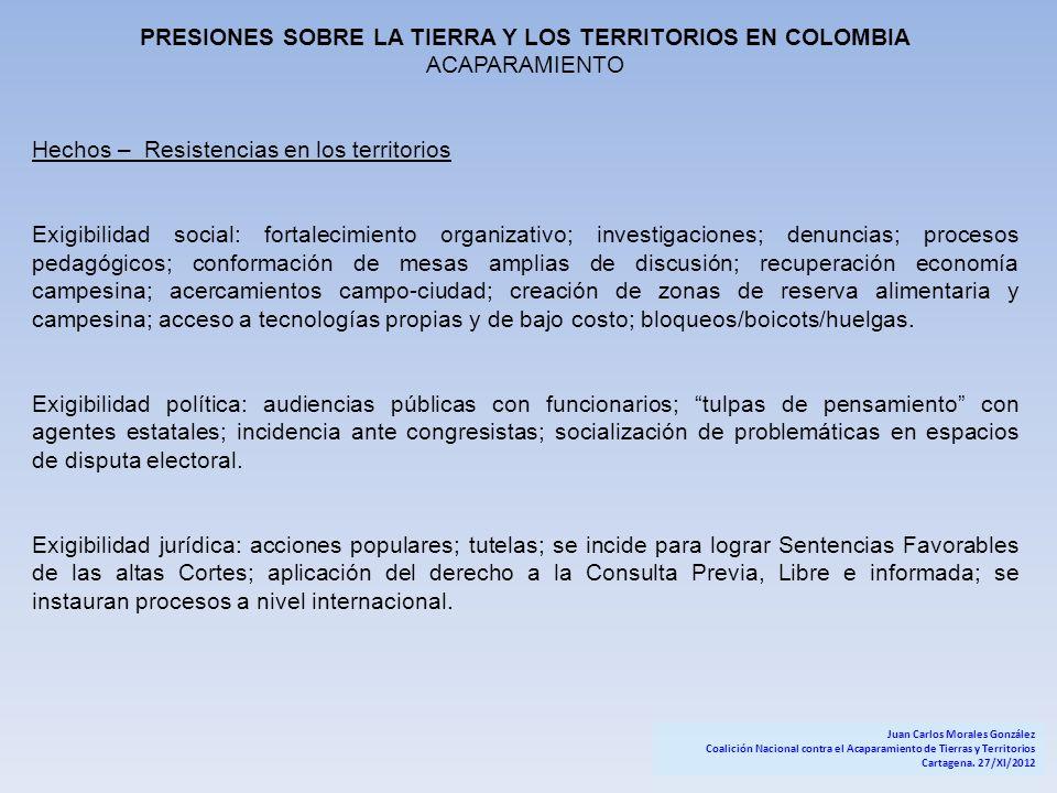 PRESIONES SOBRE LA TIERRA Y LOS TERRITORIOS EN COLOMBIA ACAPARAMIENTO Hechos – Resistencias en los territorios Exigibilidad social: fortalecimiento or