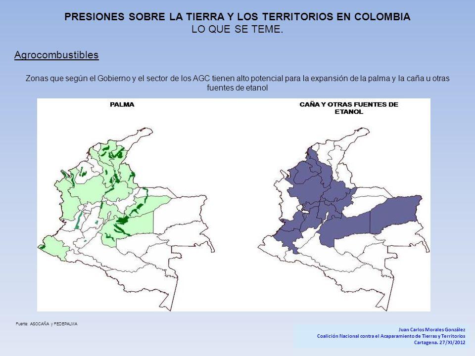 PRESIONES SOBRE LA TIERRA Y LOS TERRITORIOS EN COLOMBIA LO QUE SE TEME. Agrocombustibles Zonas que según el Gobierno y el sector de los AGC tienen alt